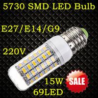SMD 5730 E27 E14 G9 5W 7W 9W 12W 15W LED Corn Bulbs Lamp AC 220V-240V 24 36 48 56 69led Warm White/White Christmas Lights