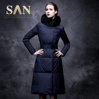 women new  winter coat fox fur slim fit x-long design down coat female ultra long elegant down jacket snow wear clothing