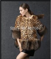 Leopard Raccoon Collar Marten Women Mink Fur Coat Short Three Quarter Cloak with Big Faux fox full collar Ladies Clothes Winter