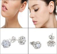 Korean Style Spherical Crystal Flower Stud Earring For Women 925 Sterling Silver Flower Small Stud Earring Lady Crystal Earrings
