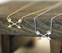 Wholesale 10pcs/lot-2015 Gold/Silver Punk Jewelry Unique Double Arrow Pendant Cross Arrow Necklace for Women