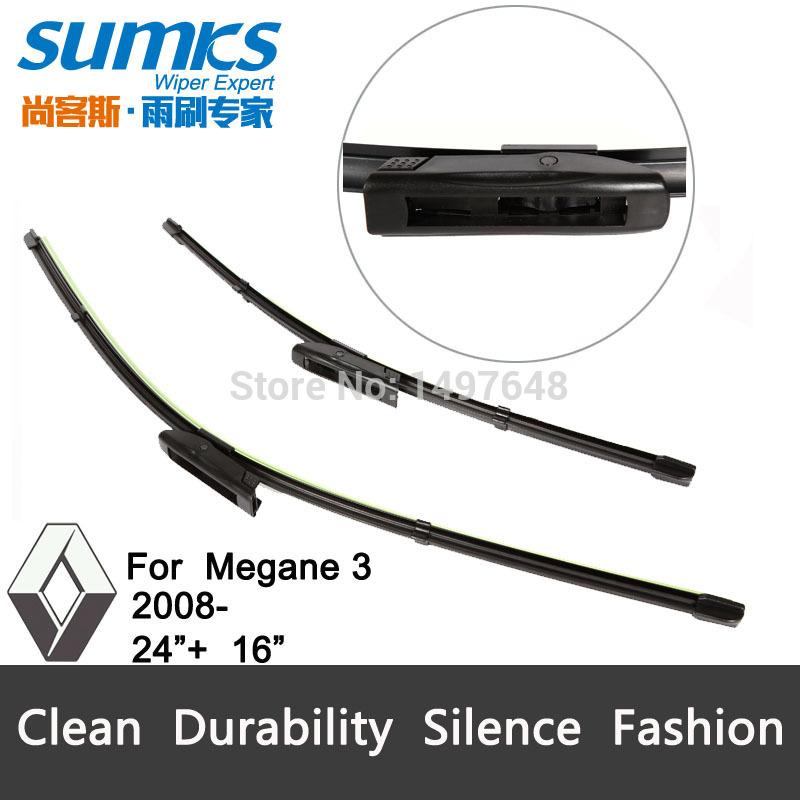 Стеклоочистители Sumks Renault Megane 3, 24 + 16 , Bracketless ,   2 renault megane coupe 1999