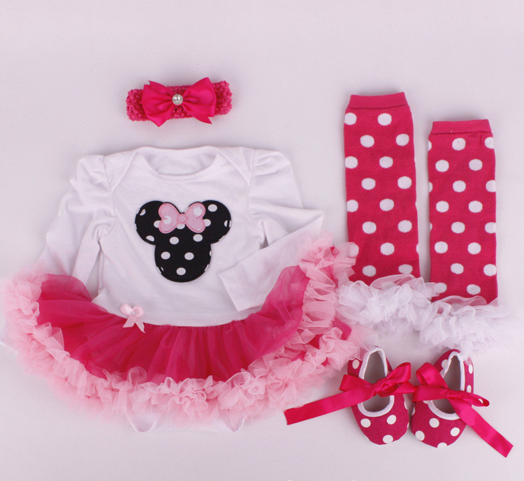 Baby Clothing 2015 newborn baby clothes baby rompers tutu dress +head band+shoes+leggings 4pcs girls clothing sets Kids Vestidos(China (Mainland))