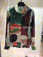 2015 Luxury Brand 100% Silk Blouses Printed Blusas Femininas  Women Blouse Free Shipping