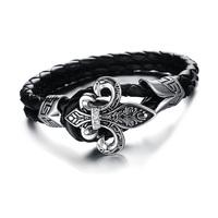 2014 Christmas Jewelry Black Cross Biker Leather Wrap Men 316L Stainless Steel Bracelets Cuff Bangle 3pcs/lot,BC1665