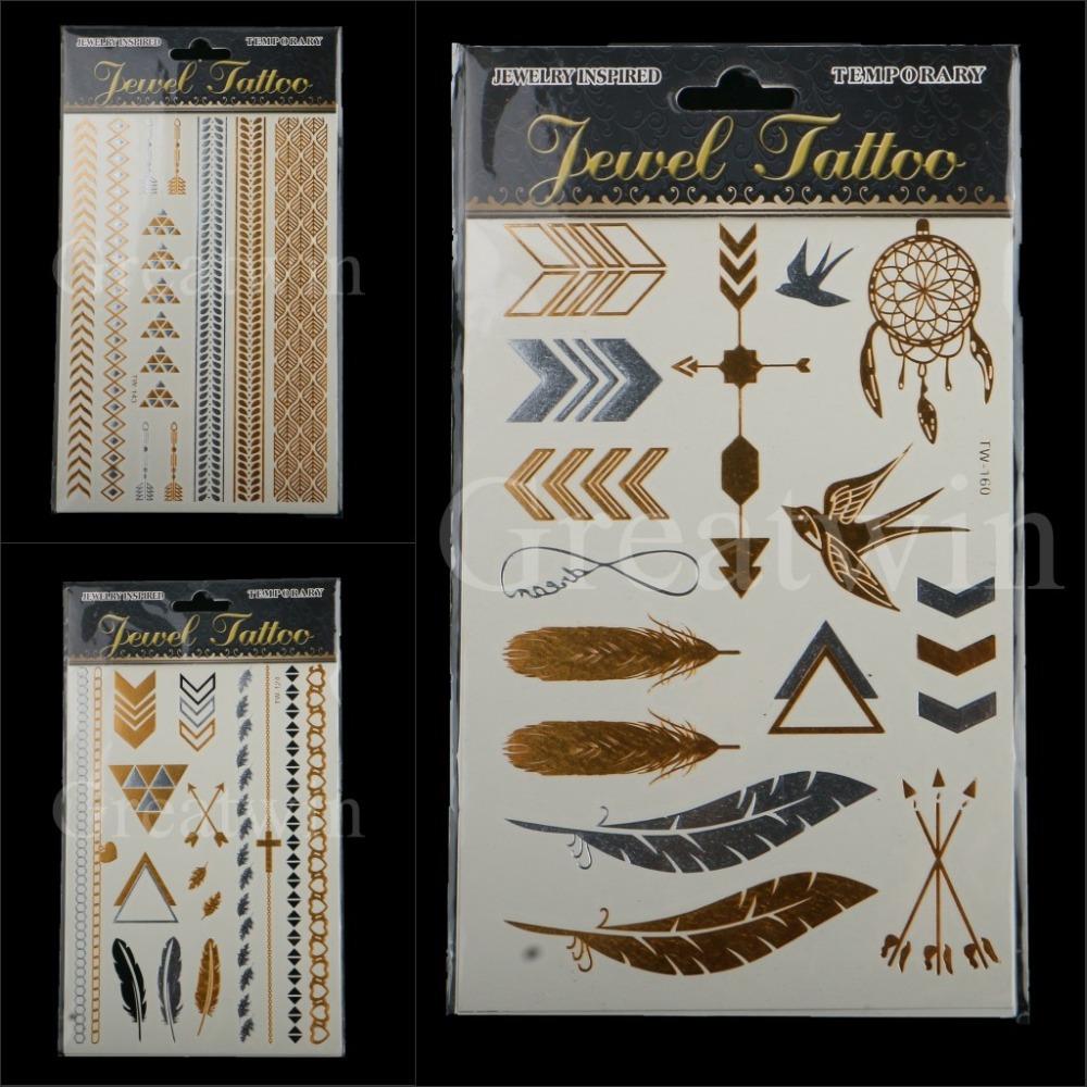 3designs/conjunto novo metálico ouro prata corpo arte temporária tatuagem