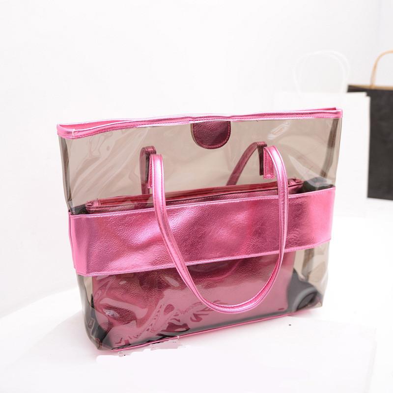 2015 new Korean women bag hit color stitching transparent plastic jelly bolsas femininas women messenger bags beach bag QB0362(China (Mainland))