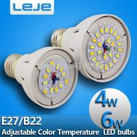 4pcs/lot  E27 B22 4w 6W AC85-265V warm white to pure white color temperature adjustable led  LED Bulb Bubble Ball