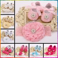 Kids Girls sapato bebe Rhinestone Flower baby Shoe Headband Set,Ballerina Shoes Baby Shower Animal Slippers Boutique 3 set/lot