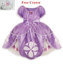 2015 princesa sofia 2 colors vestido traje vestido disfraz princesinha princesa sofia sofia a primeira roupas infantil meninas(China (Mainland))