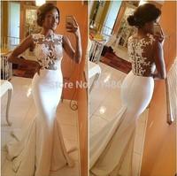 vestido de noiva Sexy White Flowers Lace Applique Sleeveless Back Zipper Mermaid Wedding Dresses 2015