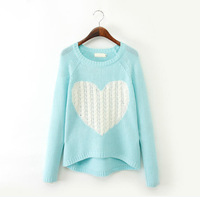 New Fashion Women Sweater Ladies Elegant Heart Pattern Pullover O neck Long Sleeve Knitwear Casual Slim Sweaters WZM709