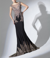 Real Photos Top Quality Black Color Lace Embroider Appliques Sheath Court Train Elegant Evening Dress OL102653