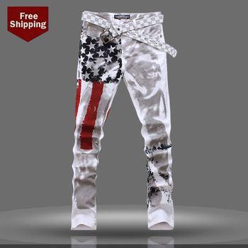 Новых мужчин джинсы, ручная роспись печать джинсы, мода джинсы мужские калько джинсы dsq 100% хлопка мужчин брюки горячая распродажа