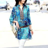 L-4XL Plus size New Fashion retro Printed chiffon middle long dresses for women YW003