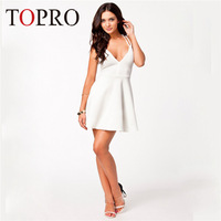 Topro Brand New Designer Sexy Black Criss Cross Sexy White Mini Dress Big Swing Skater Runway Elegant Prom Casual Dress HW0099