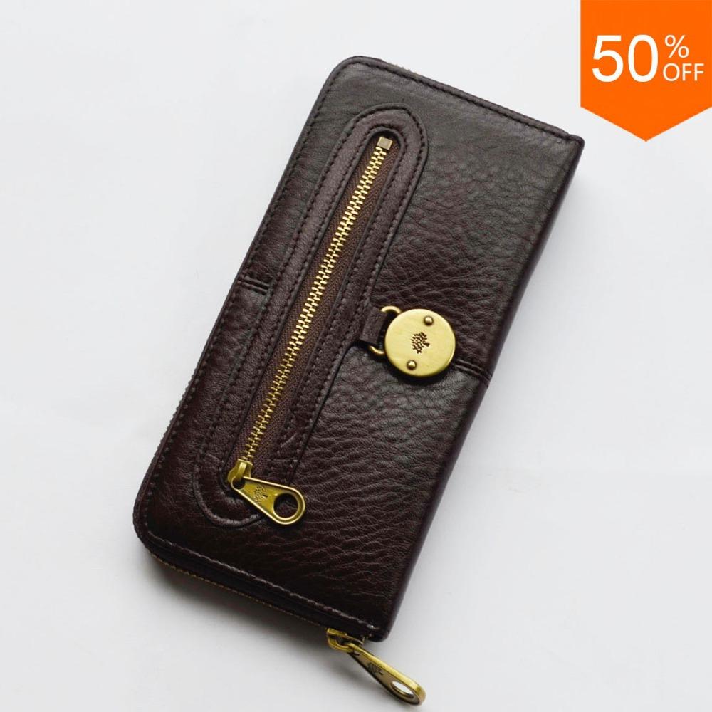 UK tree logo Somerset zip around purse, Chocolate Genuine Leather, free shipping worldwide, 50% price off(China (Mainland))