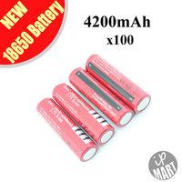 FS! 3.7V Ultrafire Battery 18650 4200mAh  Li-lon Battery Rechargeable Battery (Red) for LED flashlight 100pcs/lot
