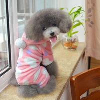 Dog Hoodies Thicken Autumn Winter Pet Supplies Cute Heart Puppy Costumes Small Dog Cat Clothing Warm Fleece Coat Jumpsuit Pink