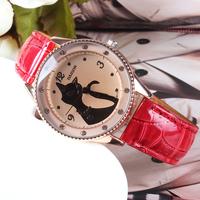 Hot Sale Cat Wristwatch Women Fashion Lady Dress Watch, Vintage PU Leather Strap Quartz Watches
