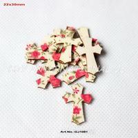 (120pcs/lot) Fabric Topper Wood Back Easter Cross Crafts Scrapbooking Art Parties Project  30mm-GJ1081
