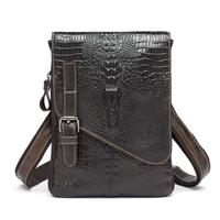 Genuine Leather men bags vintage men Messenger bag Shoulder Bag coffer Fake Crocodile mobile bags men's travel handbag Ipad 2015