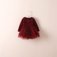 Fashion baby girl kids  long sleeve designed winter lace dress  Girls winter lace dress Formal occasion Free shipping
