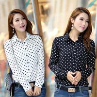 New Plus Size Women Blouses Summer Women Shirt Polka Dots Vintage Blouse Long Sleeve Women Tops Free Shipping#ZXM4