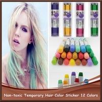 2014 New Arrival Non-toxic Temporary 12 Hiar Color Pen Color Hair Chalk Mix Color Dye Pastel Hair Extensiion 1/pcs Free Shipping