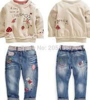 2014 New Winter baby girls clothing set Children kids cartoon sweater+jeans set toddler girls Autumn clothes Retail