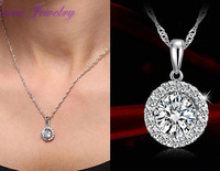Hot  TST  Big pigeon eggs round crystal & 925 Sterling Silver Women Wedding Pendants & Necklaces Fashion classic (Exclude chain)
