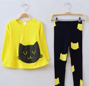 Девочки одежда комплект cat милый малыш девочка одежда дети conjunto infantil meninas ...