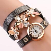 9Colors leather strap set auger flower rivet bracelet women dress watch,women wristwatches new Ladies quartz watches XR292