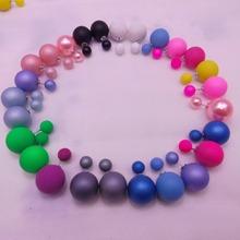 ne433 New Fashion Paragraph Hot Selling Earrings 2015 Double Side Shining Pearl(16mm) Stud Earrings Big Pearl Earrings For Women