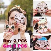 Hot sale fashion cute animal coin purse cat printing mini wallet women creative small bag girl zipper clutch bag