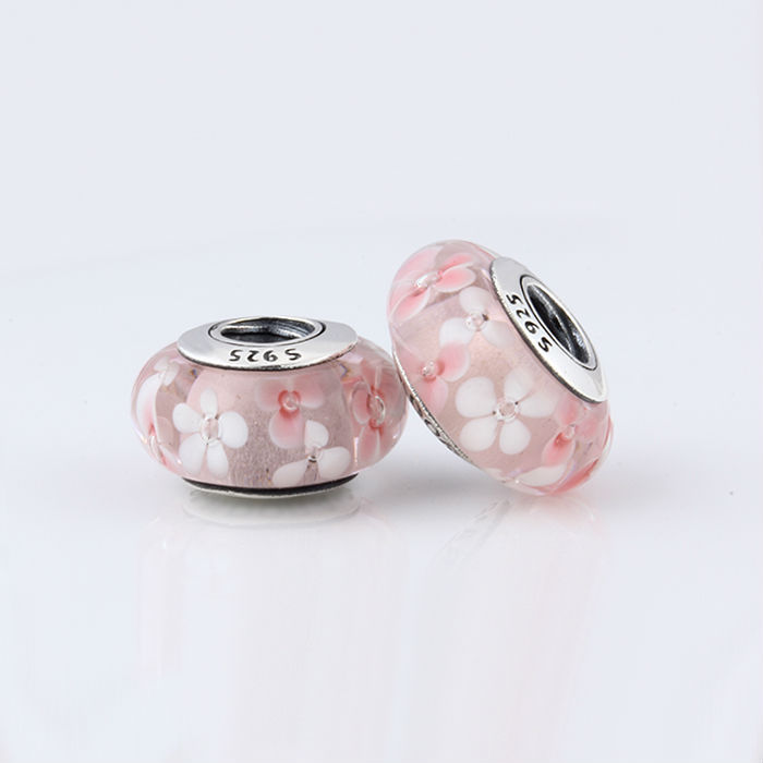 Original 925 Sterling Silver Pink Flower Murano Glass Beads Fit Pandora Bracelets Murano Glass Beads Diy