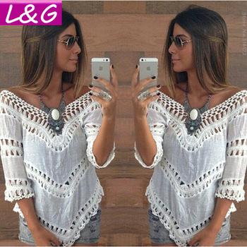 Новый 2015 мода женщины блузки горячая распродажа Большой размер кружева крючком ...