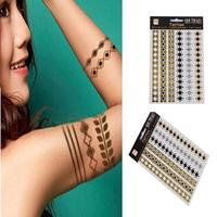 Hot Sale Unisex  Removable Round Chain Temporary Tattoo Stickers Body Art Waterproof  Metallic tatoo65370