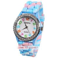 Sale 7 Camouflage Colors Fashion Watch 2015 New Luxury Geneva Wristwatch Rubber Band Quartz Movement Watch Women