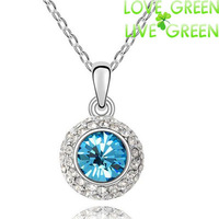 Free Shipping New Arrival kate queen wholesale18K Gold Plated Moon Light Austrian crystal pendant necklace fashion jewelry 84335