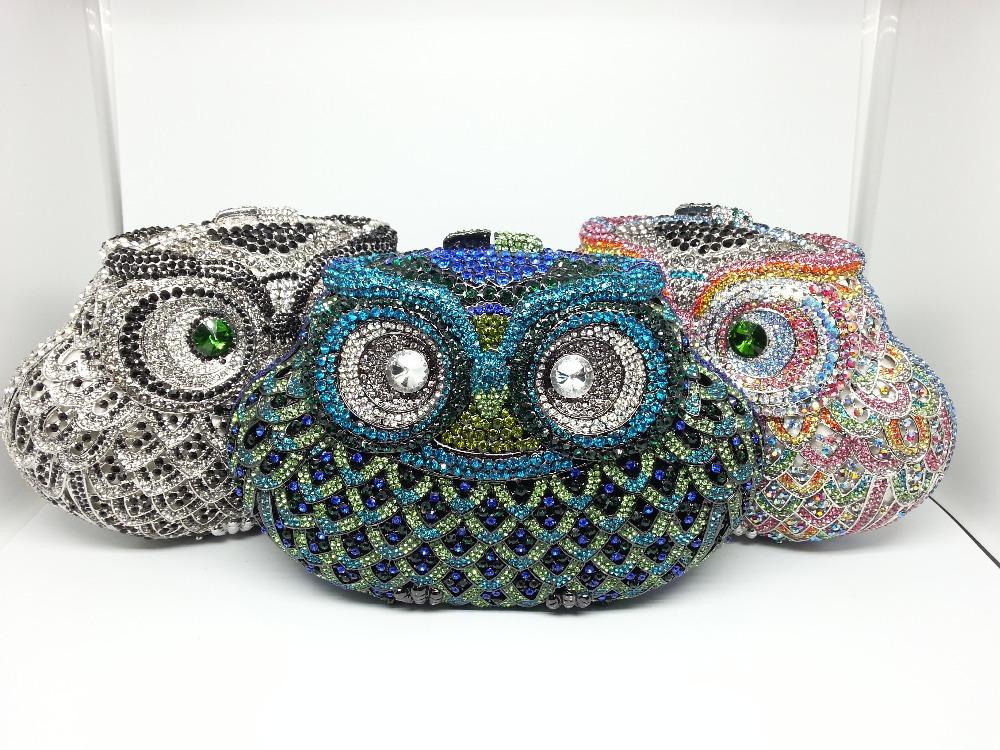 Gift Box Owl Handbag Evening Clutches Bling Crystal Bags Rhinestones Party Clutch Purse Metal Women Bag Bolsas de Noche Mujer(China (Mainland))