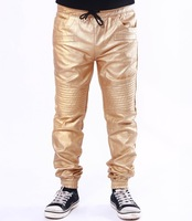 Men's Golden Red Black Gray Color Causal Harem PU Faux Pleated Leather Pants Trousers Jogger  Man Pierre US Size