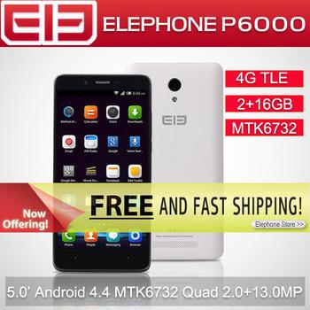 5.0 inch1280 * 720 Elephone P6000 MTK6732 64-разрядная четырехъядерных процессоров 2 ГБ оперативной памяти 16 ГБ ROM 13.0 Мп 4 г FDD 3 г WCDMA андроид 5.0 умный мобильный телефон