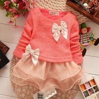 Free shipping 2014 high quality baby clothing spring new Korean girls dress sweet organza dress woven baby dress