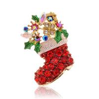 New Year Christmas Gift Crystal Mosaic Stockings Boots Santa Claus Brooch Pins