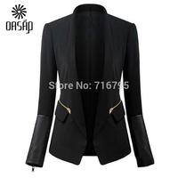OASAP Basic PU Paneled Black Slim Blazer Women Long Sleeves Open-front Jacket Outwear Blazer Feminino Free Shipping