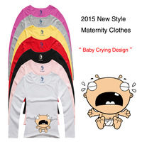 "New Design ""Baby Crying"" Printed Funny and Cute Long sleeves Casual Maternity Shirt Clothes for Pregnant Women plus New-2"
