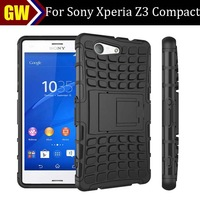 100pcs/lot Free Shipping Dual Layer Rugged Hybrid Spider Combo Hard Case with Stand for Sony Xperia Z3 Compact Z3 Mini