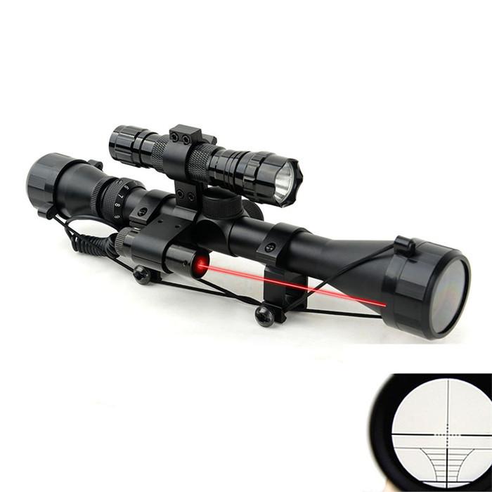 1set Optical Sight Riflescope Hunting Optics QQ01 Scope Mount Red Laser Sight 4.2V Black Flashlight(China (Mainland))