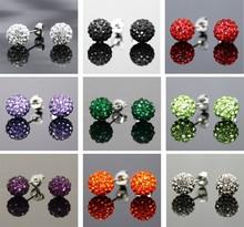 2015 Fashion Shamballah Jewelry Silver Rhinestone Crystal 8MM Shambhala Beads stud earrings mix colorful